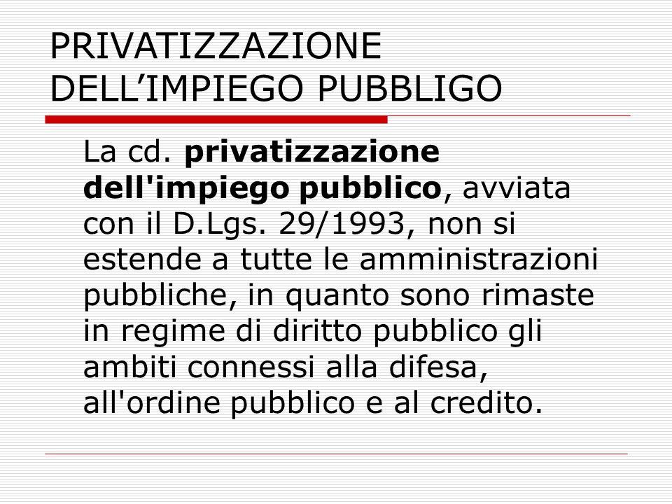 PRIVATIZZAZIONE DELLIMPIEGO PUBBLIGO La cd. privatizzazione dell'impiego pubblico, avviata con il D.Lgs. 29/1993, non si estende a tutte le amministra