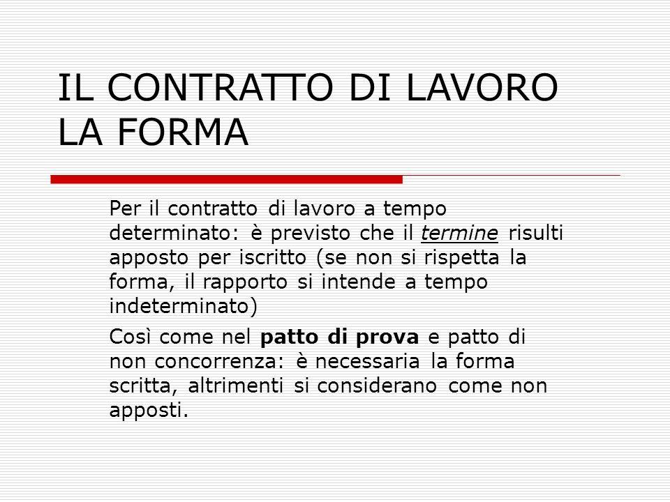 IL CONTRATTO DI LAVORO LA FORMA La forma scritta è imposta, indirettamente, da altre norme, pena di sanzioni amministrative.