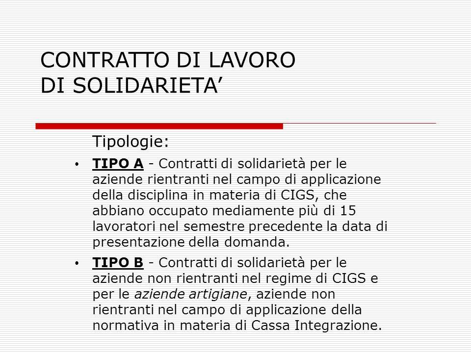 CONTRATTO DI LAVORO DI SOLIDARIETA Tipologie: TIPO A - Contratti di solidarietà per le aziende rientranti nel campo di applicazione della disciplina i