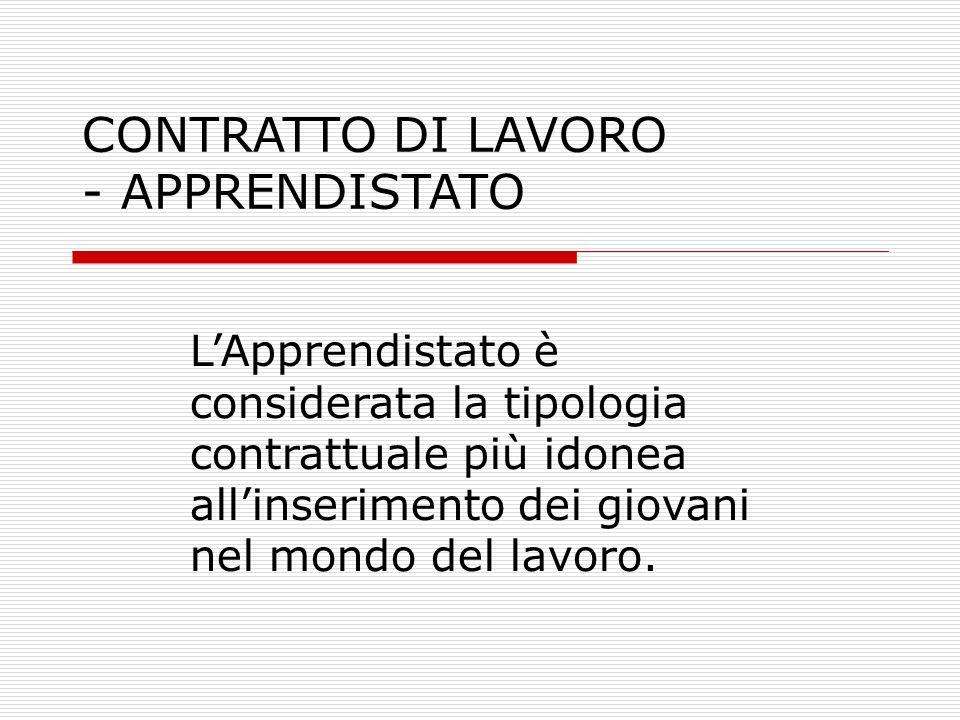 CONTRATTO DI LAVORO - APPRENDISTATO LApprendistato è considerata la tipologia contrattuale più idonea allinserimento dei giovani nel mondo del lavoro.