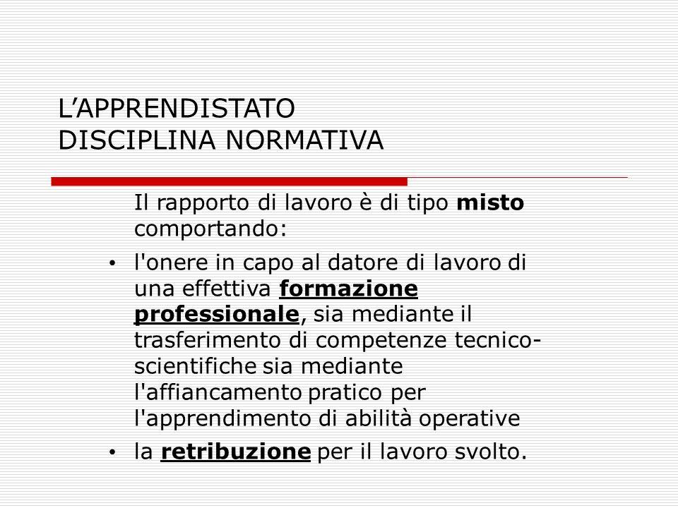 LAPPRENDISTATO DISCIPLINA NORMATIVA Il rapporto di lavoro è di tipo misto comportando: l'onere in capo al datore di lavoro di una effettiva formazione