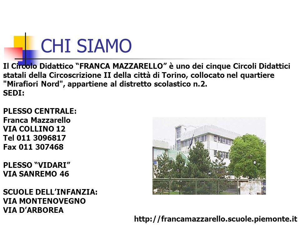 CHI SIAMO Il Circolo Didattico FRANCA MAZZARELLO è uno dei cinque Circoli Didattici statali della Circoscrizione II della città di Torino, collocato n