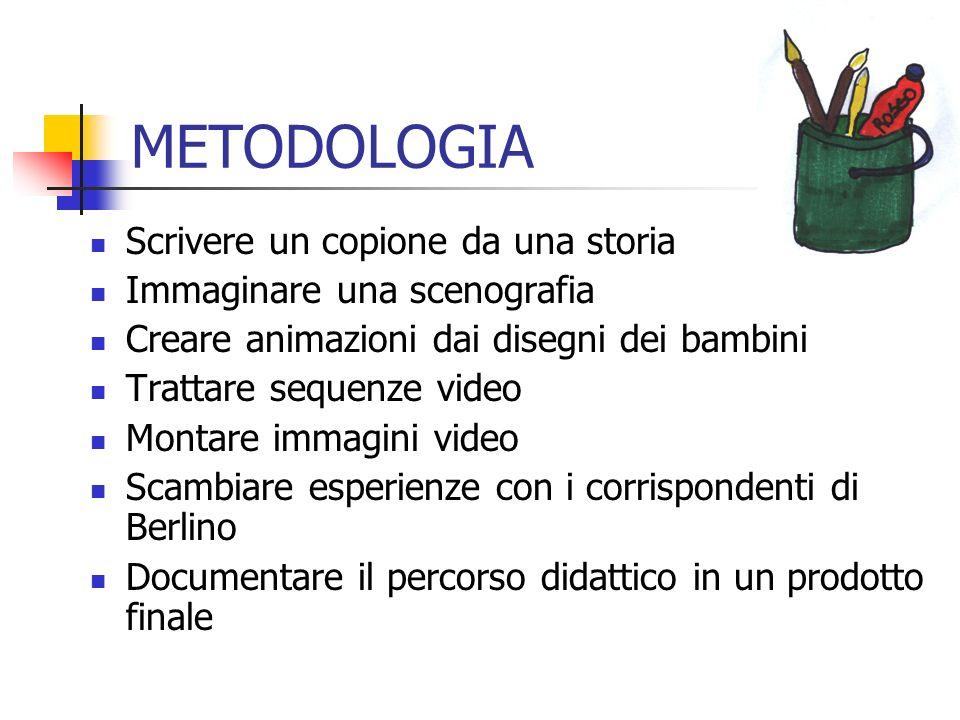 METODOLOGIA Scrivere un copione da una storia Immaginare una scenografia Creare animazioni dai disegni dei bambini Trattare sequenze video Montare imm