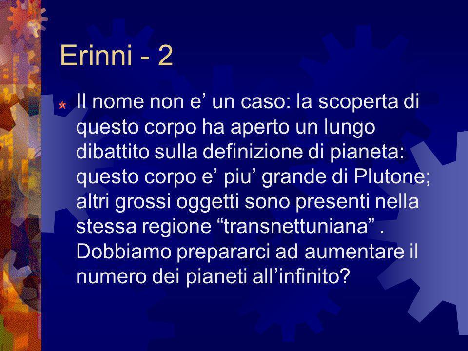 Erinni - 2 Il nome non e un caso: la scoperta di questo corpo ha aperto un lungo dibattito sulla definizione di pianeta: questo corpo e piu grande di