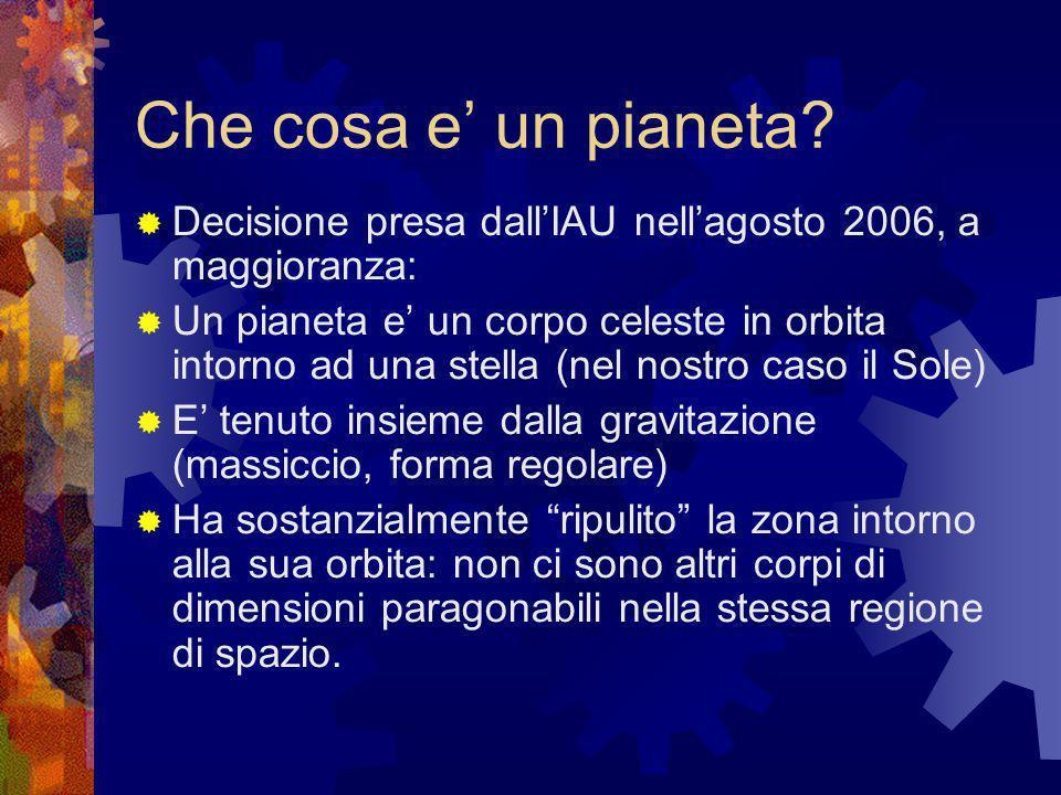 Che cosa e un pianeta? Decisione presa dallIAU nellagosto 2006, a maggioranza: Un pianeta e un corpo celeste in orbita intorno ad una stella (nel nost