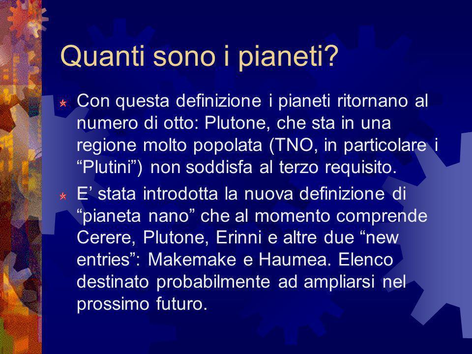 Quanti sono i pianeti? Con questa definizione i pianeti ritornano al numero di otto: Plutone, che sta in una regione molto popolata (TNO, in particola
