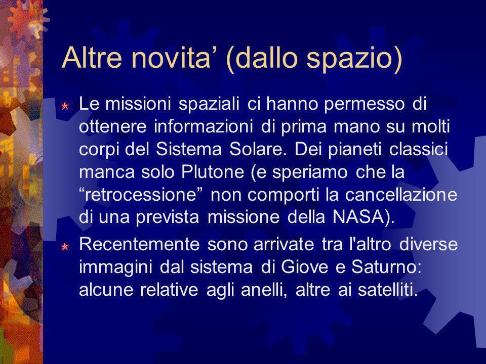Altre novita (dallo spazio) Le missioni spaziali ci hanno permesso di ottenere informazioni di prima mano su molti corpi del Sistema Solare. Dei piane