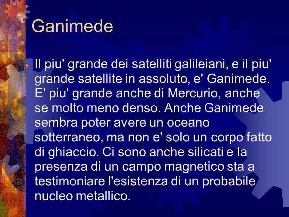 Ganimede Il piu' grande dei satelliti galileiani, e il piu' grande satellite in assoluto, e' Ganimede. E' piu' grande anche di Mercurio, anche se molt