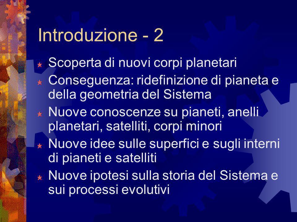 Introduzione - 2 Scoperta di nuovi corpi planetari Conseguenza: ridefinizione di pianeta e della geometria del Sistema Nuove conoscenze su pianeti, an