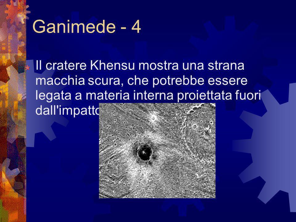 Ganimede - 4 Il cratere Khensu mostra una strana macchia scura, che potrebbe essere legata a materia interna proiettata fuori dall'impatto.