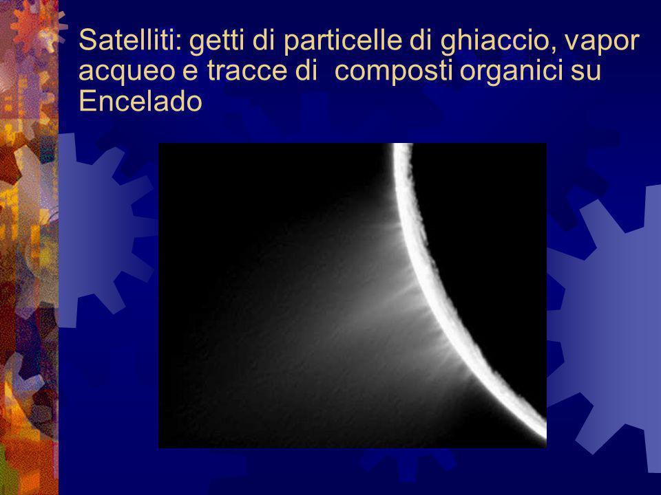 Satelliti: getti di particelle di ghiaccio, vapor acqueo e tracce di composti organici su Encelado