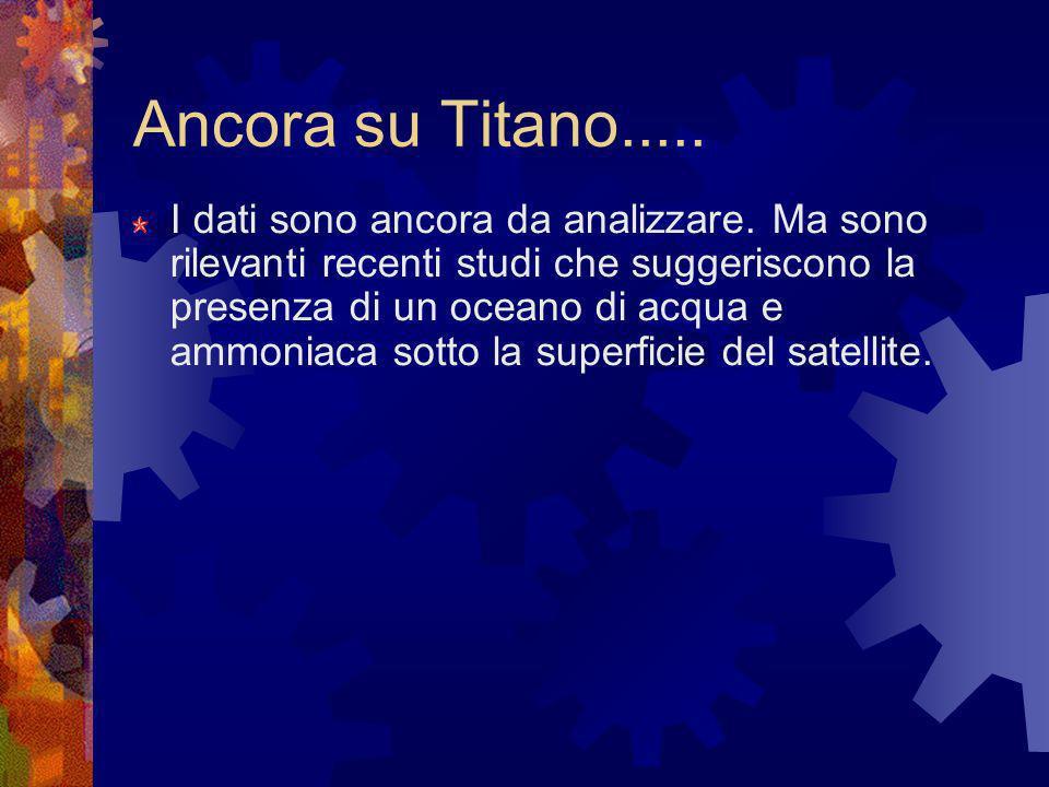 Ancora su Titano..... I dati sono ancora da analizzare. Ma sono rilevanti recenti studi che suggeriscono la presenza di un oceano di acqua e ammoniaca