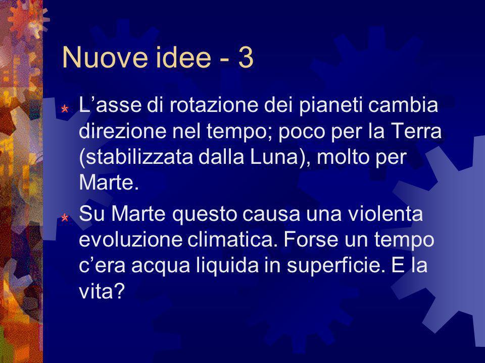 Nuove idee - 3 Lasse di rotazione dei pianeti cambia direzione nel tempo; poco per la Terra (stabilizzata dalla Luna), molto per Marte. Su Marte quest