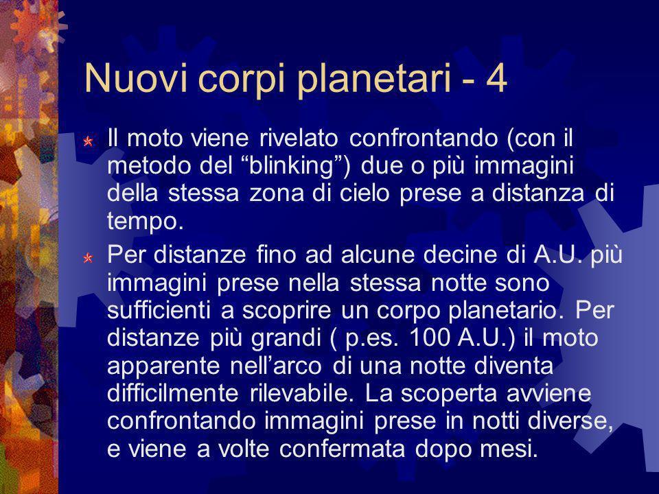 Nuovi corpi planetari - 4 Il moto viene rivelato confrontando (con il metodo del blinking) due o più immagini della stessa zona di cielo prese a dista