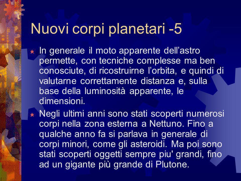 Nuovi corpi planetari -5 In generale il moto apparente dellastro permette, con tecniche complesse ma ben conosciute, di ricostruirne lorbita, e quindi