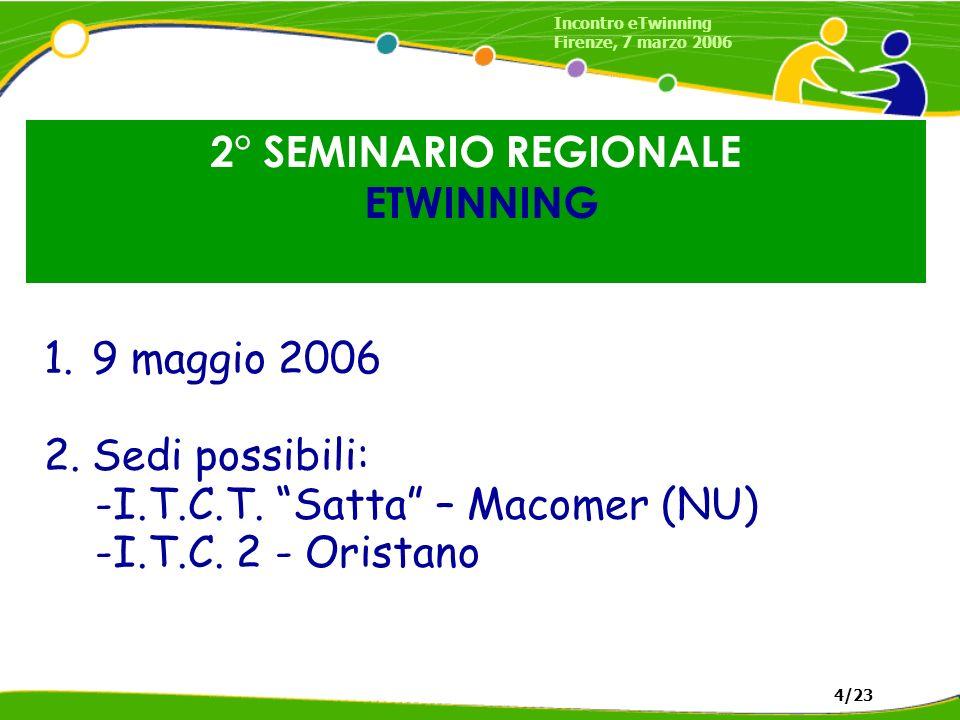 2° SEMINARIO REGIONALE ETWINNING 1.9 maggio 2006 2.Sedi possibili: -I.T.C.T. Satta – Macomer (NU) -I.T.C. 2 - Oristano Incontro eTwinning Firenze, 7 m
