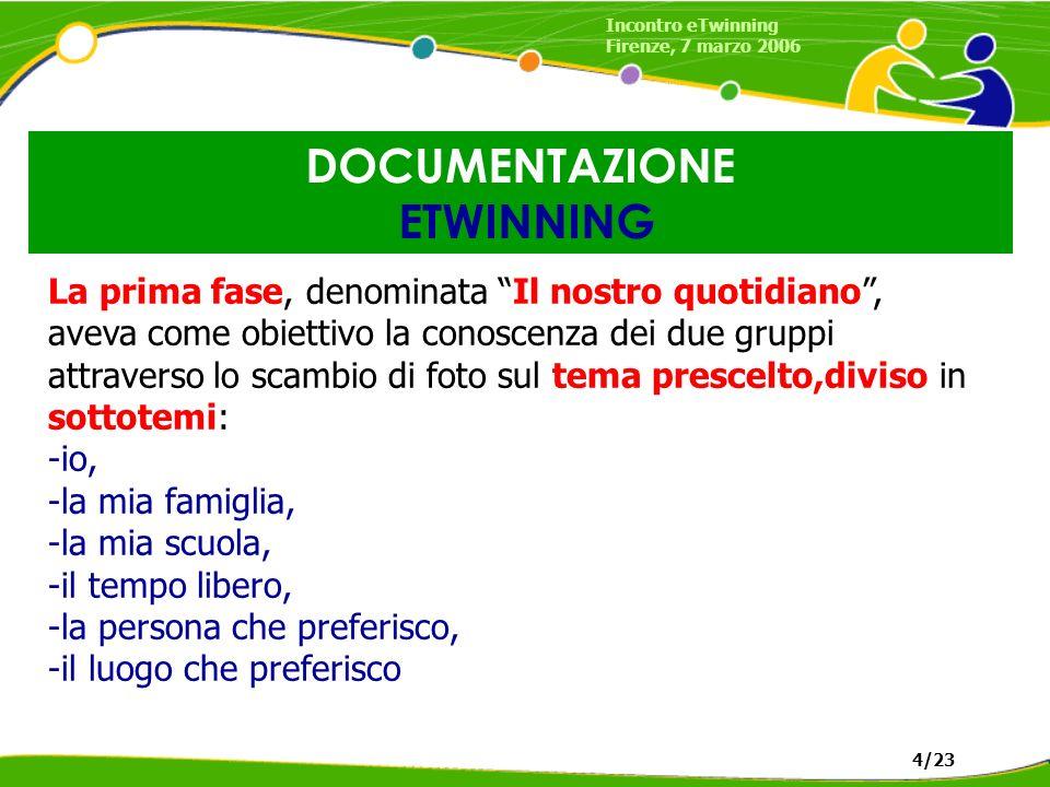DOCUMENTAZIONE ETWINNING Incontro eTwinning Firenze, 7 marzo 2006 4/23 La prima fase, denominata Il nostro quotidiano, aveva come obiettivo la conoscenza dei due gruppi attraverso lo scambio di foto sul tema prescelto,diviso in sottotemi: -io, -la mia famiglia, -la mia scuola, -il tempo libero, -la persona che preferisco, -il luogo che preferisco