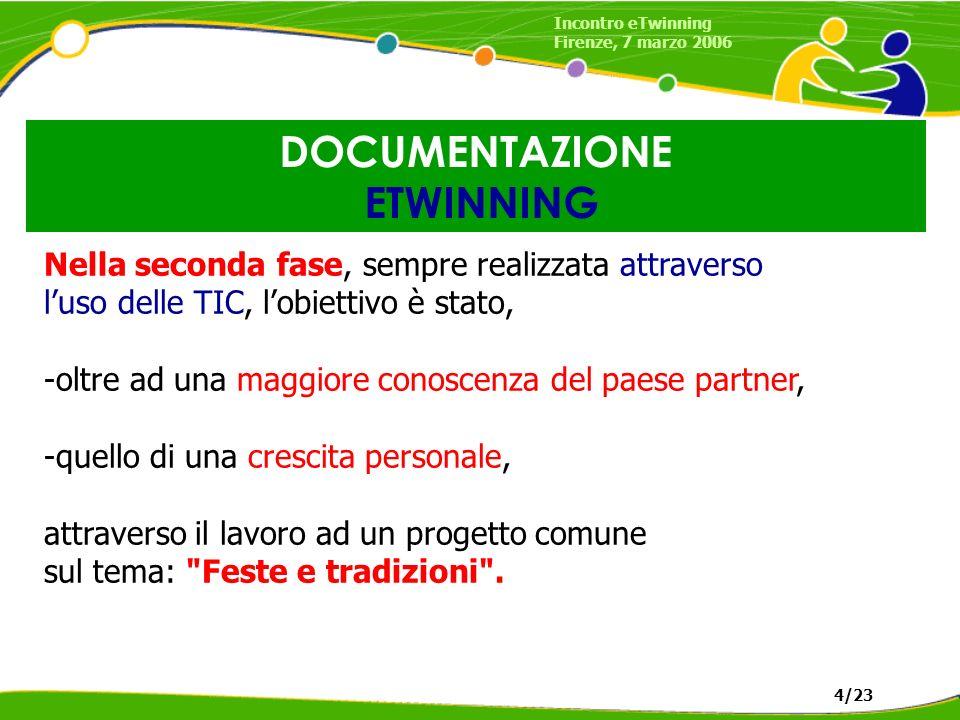 DOCUMENTAZIONE ETWINNING Incontro eTwinning Firenze, 7 marzo 2006 4/23 Le insegnanti Mariangela Foscoliano e Paola Atzeri (referente del progetto)