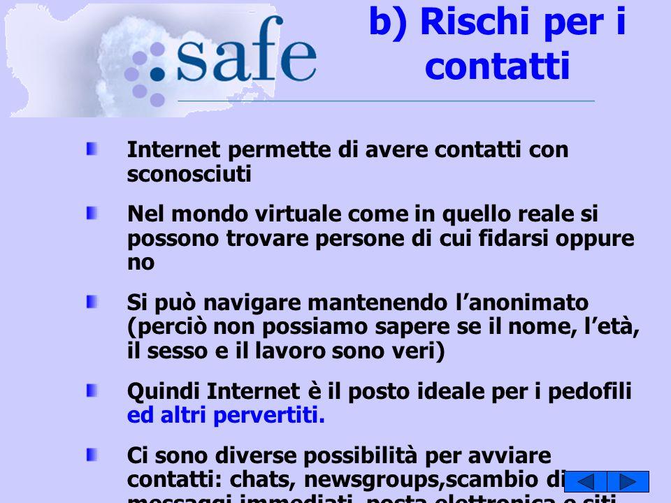 b) Rischi per i contatti Internet permette di avere contatti con sconosciuti Nel mondo virtuale come in quello reale si possono trovare persone di cui