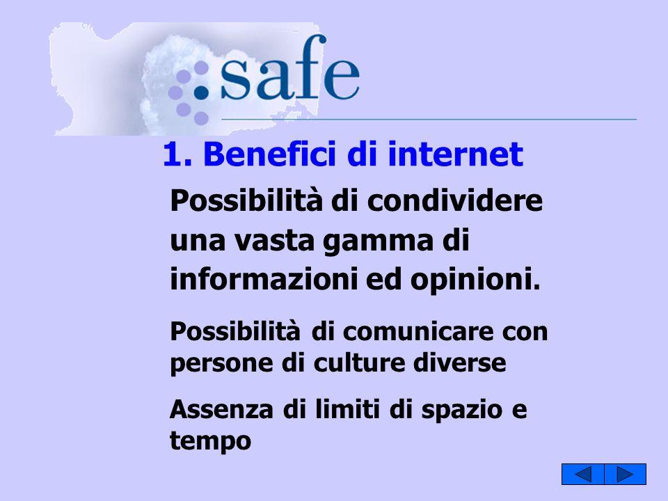 1. Benefici di internet Possibilità di condividere una vasta gamma di informazioni ed opinioni.