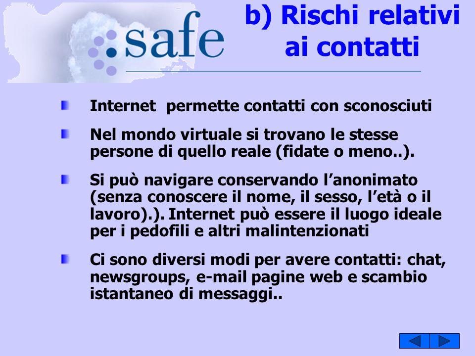 b) Rischi relativi ai contatti Internet permette contatti con sconosciuti Nel mondo virtuale si trovano le stesse persone di quello reale (fidate o meno..).