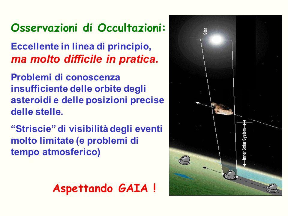 Osservazioni di Occultazioni: Eccellente in linea di principio, ma molto difficile in pratica. Problemi di conoscenza insufficiente delle orbite degli