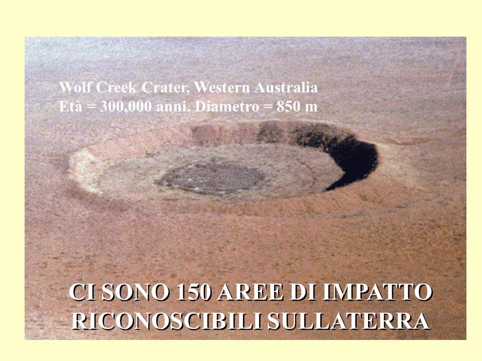 Wolf Creek Crater, Western Australia Età = 300,000 anni, Diametro = 850 m CI SONO 150 AREE DI IMPATTO RICONOSCIBILI SULLATERRA CI SONO 150 AREE DI IMP
