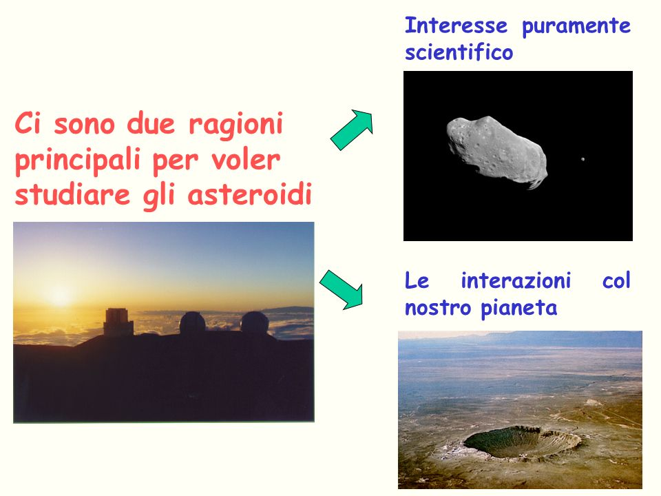 Ci sono due ragioni principali per voler studiare gli asteroidi Interesse puramente scientifico Le interazioni col nostro pianeta