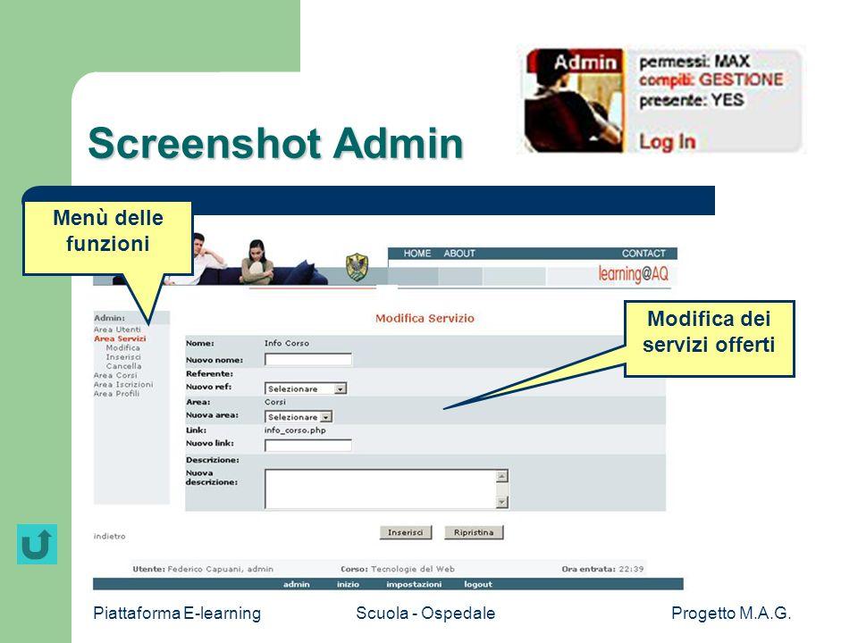 Piattaforma E-learningScuola - OspedaleProgetto M.A.G. Screenshot Admin Menù delle funzioni