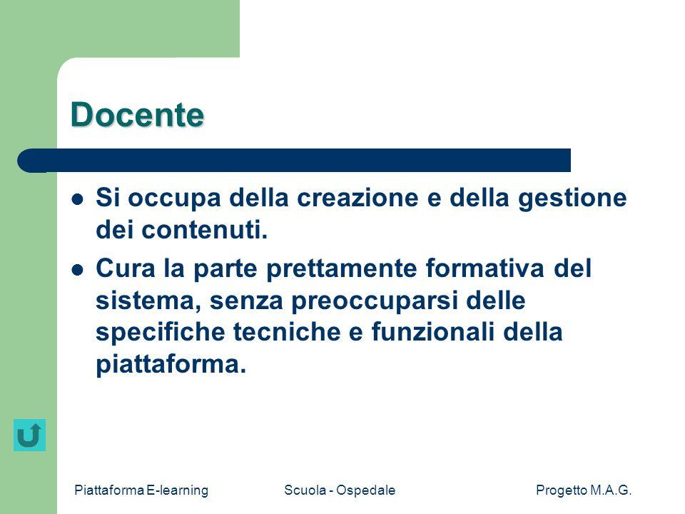 Piattaforma E-learningScuola - OspedaleProgetto M.A.G. Screenshot Info Staff