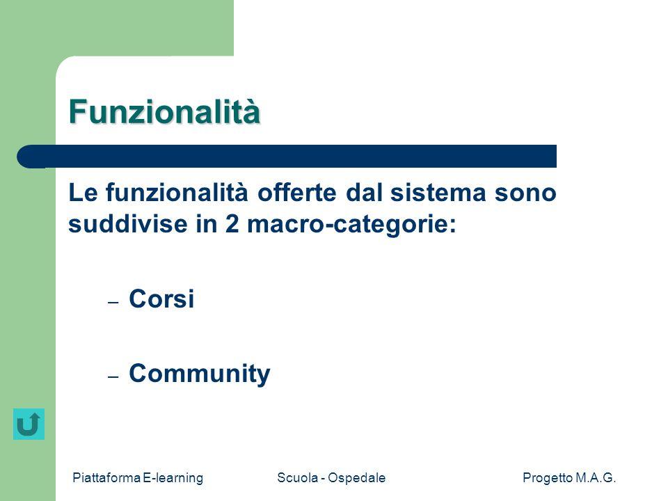 Piattaforma E-learningScuola - OspedaleProgetto M.A.G. Screenshot contenuti
