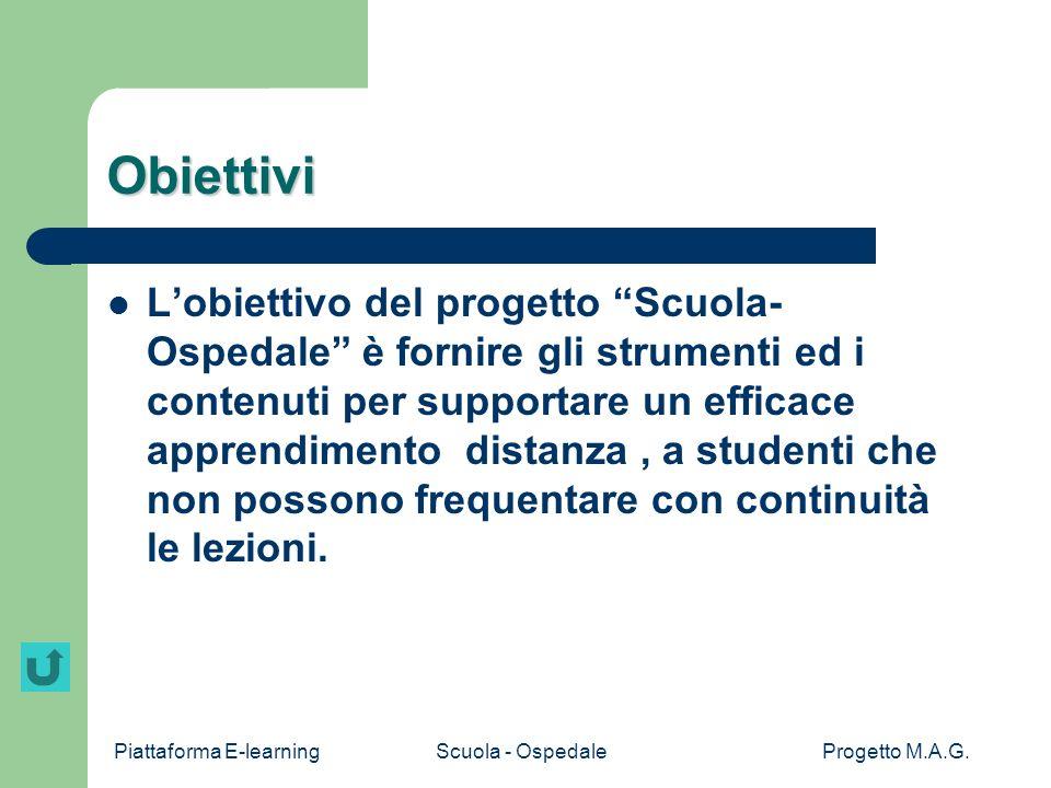 Piattaforma E-learningScuola - OspedaleProgetto M.A.G. Screenshot home