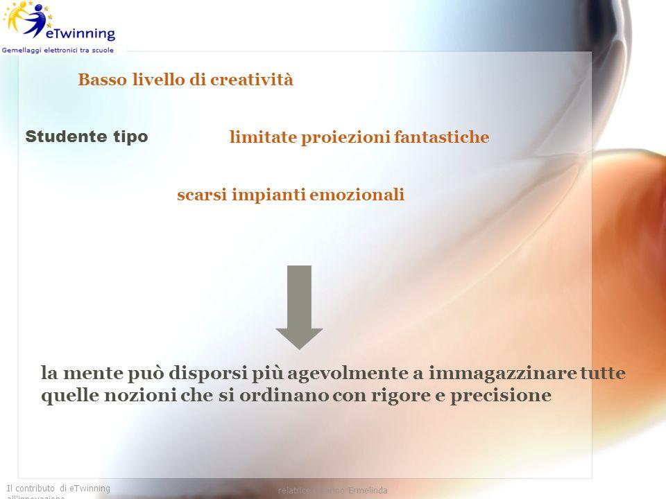 Il contributo di eTwinning all'innovazione relatrice Guarino Ermelinda Basso livello di creatività Studente tipo limitate proiezioni fantastiche scars