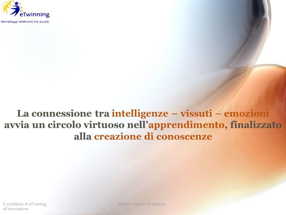 Il contributo di eTwinning all'innovazione relatrice Guarino Ermelinda La connessione tra intelligenze – vissuti – emozioni avvia un circolo virtuoso