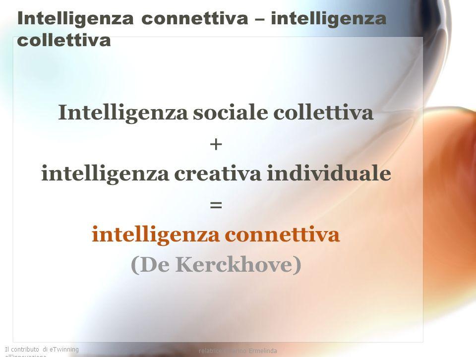 Il contributo di eTwinning all'innovazione relatrice Guarino Ermelinda Intelligenza connettiva – intelligenza collettiva Intelligenza sociale colletti