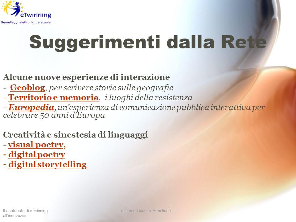 Il contributo di eTwinning all'innovazione relatrice Guarino Ermelinda Suggerimenti dalla Rete Alcune nuove esperienze di interazione - Geoblog, per s