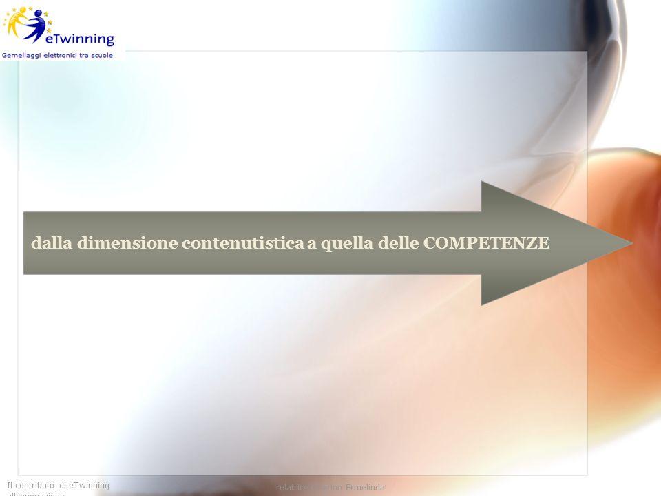 Il contributo di eTwinning all'innovazione relatrice Guarino Ermelinda dalla dimensione contenutistica a quella delle COMPETENZE