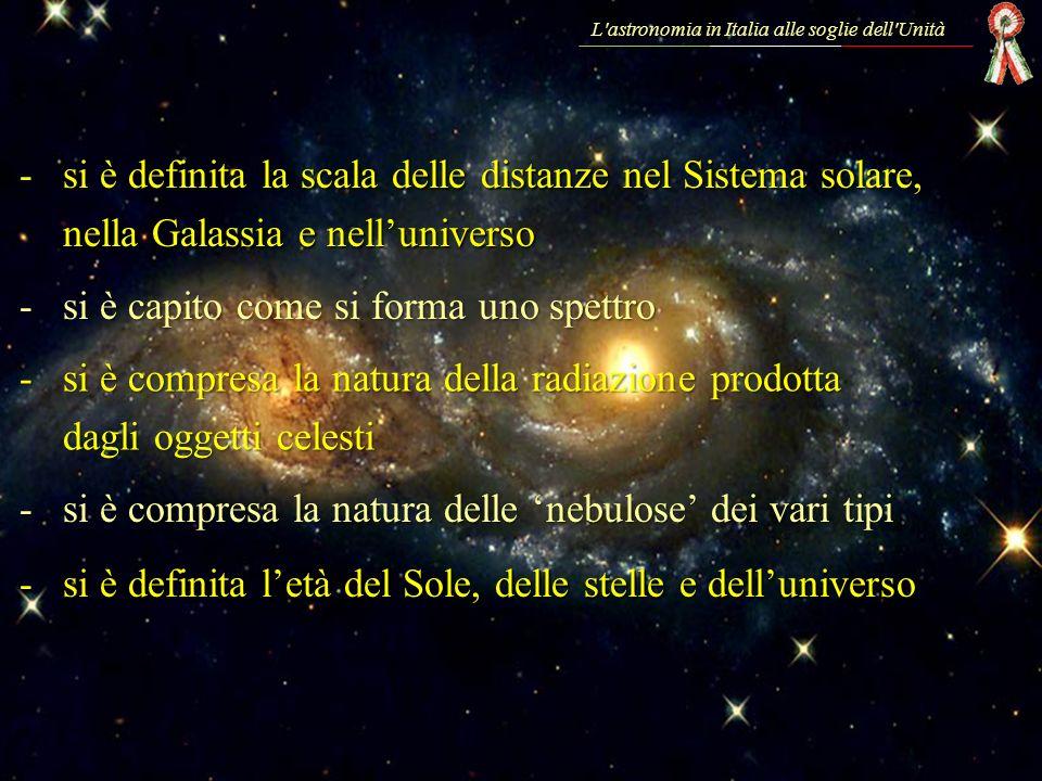 -si è definita la scala delle distanze nel Sistema solare, nella Galassia e nelluniverso -si è capito come si forma uno spettro -si è compresa la natu
