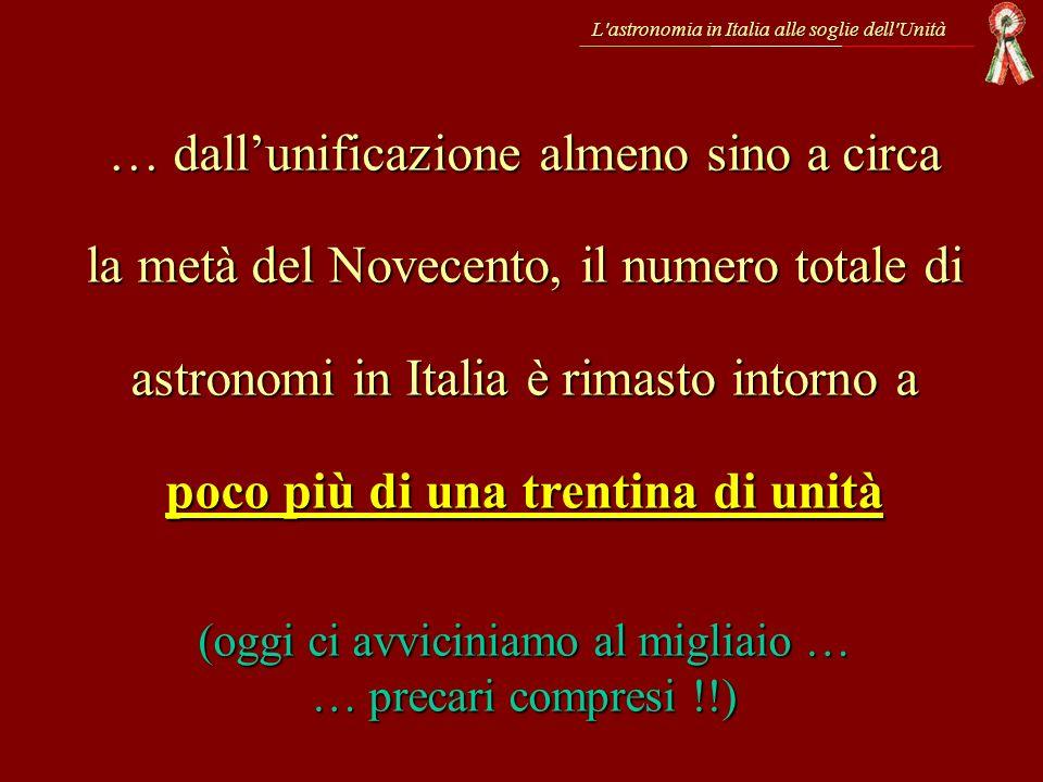 L'astronomia in Italia alle soglie dell'Unità … dallunificazione almeno sino a circa la metà del Novecento, il numero totale di astronomi in Italia è