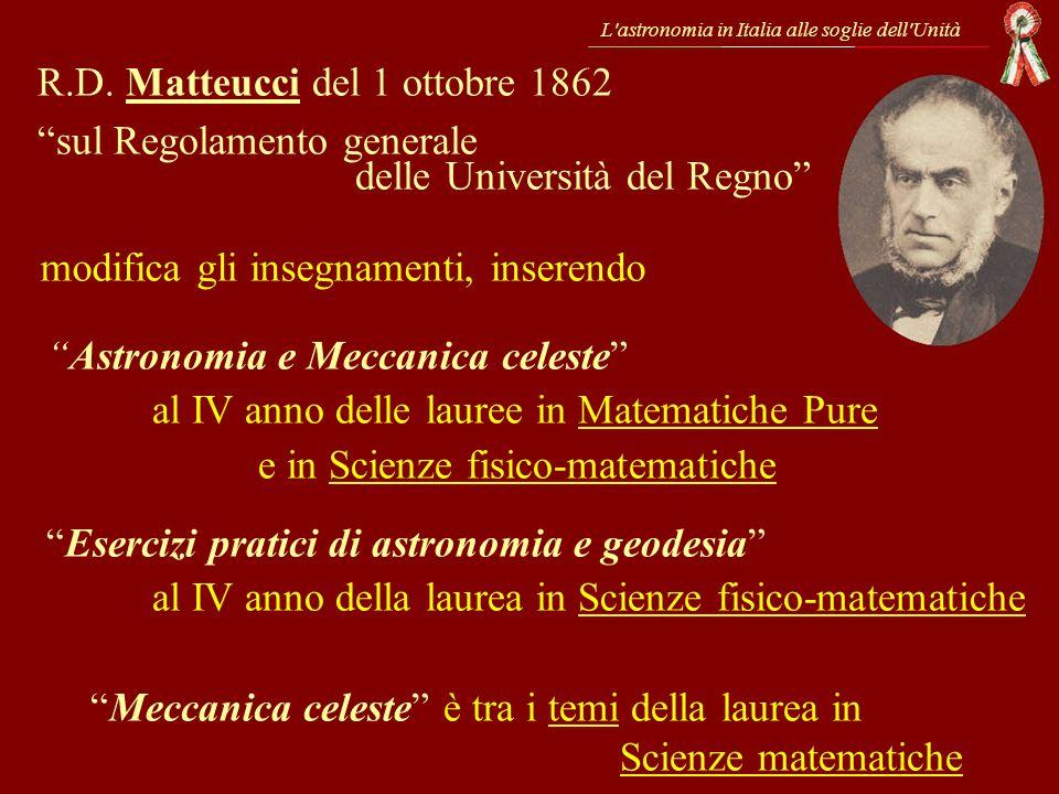 L'astronomia in Italia alle soglie dell'Unità R.D. Matteucci del 1 ottobre 1862 sul Regolamento generale delle Università del Regno modifica gli inseg