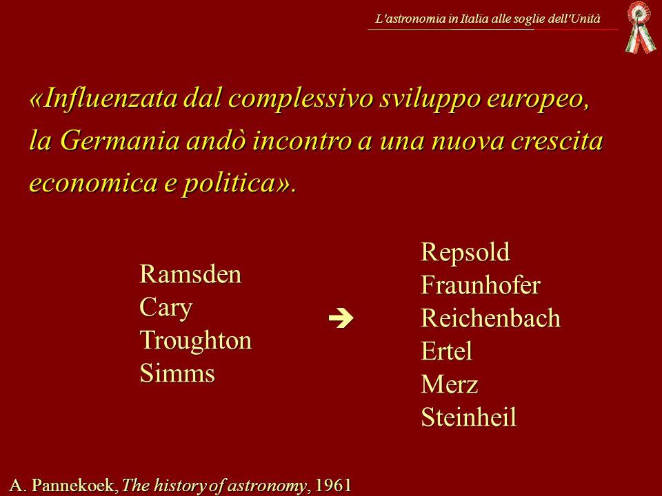 L'astronomia in Italia alle soglie dell'Unità «Influenzata dal complessivo sviluppo europeo, la Germania andò incontro a una nuova crescita economica