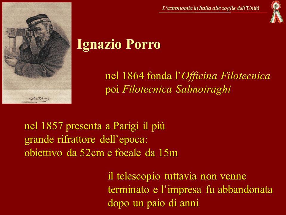 L'astronomia in Italia alle soglie dell'Unità Ignazio Porro nel 1864 fonda lOfficina Filotecnica poi Filotecnica Salmoiraghi nel 1857 presenta a Parig