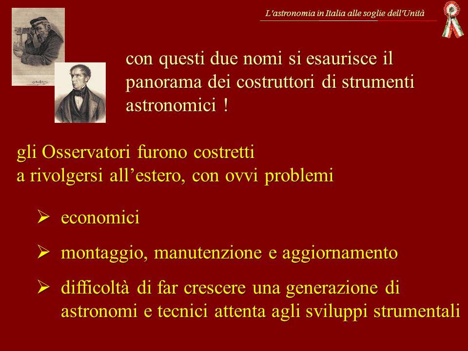 L'astronomia in Italia alle soglie dell'Unità con questi due nomi si esaurisce il panorama dei costruttori di strumenti astronomici ! gli Osservatori