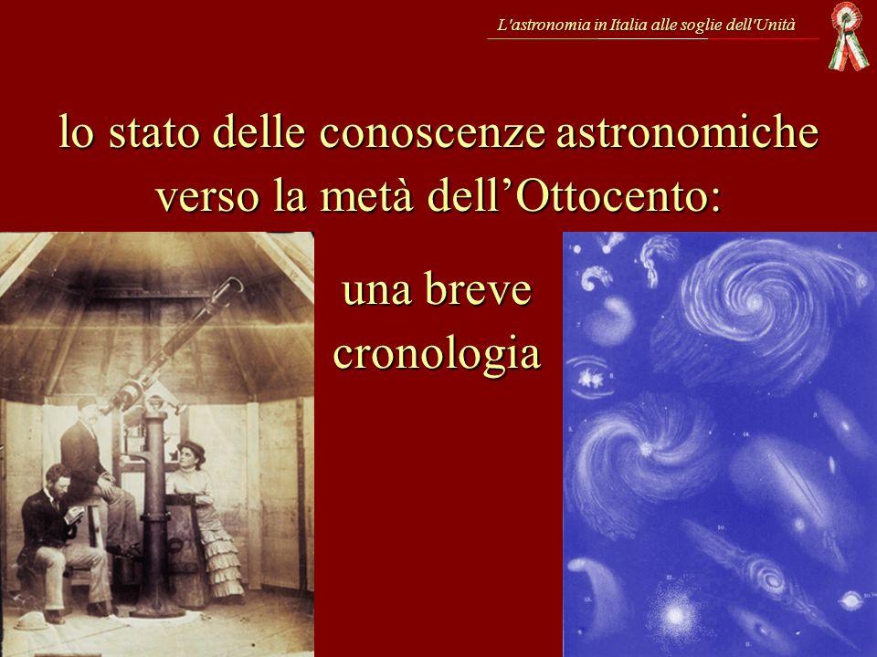 1838 – BESSEL misura la prima distanza di una stella 1842 – DOPPLER descrive il cambiamento di frequenza di unonda in moto rispetto allosservatore % L astronomia in Italia alle soglie dell Unità 1839 – ARAGO presenta allAcadémie des Sciences il nuovo procedimento di Daguerre 1845 – si inaugura il telescopio riflettore di Lord ROSSE da 183 cm – FOUCAULT e FIZEAU ottengono il primo dagherrotipo del Sole: nasce la fotografia astronomica – FOUCAULT e FIZEAU ottengono il primo dagherrotipo del Sole: nasce la fotografia astronomica 1844 – Tragica spedizione dei FRATELLI BANDIERA 1839 – Nasce la Società Italiana per il Progresso delle Scienze
