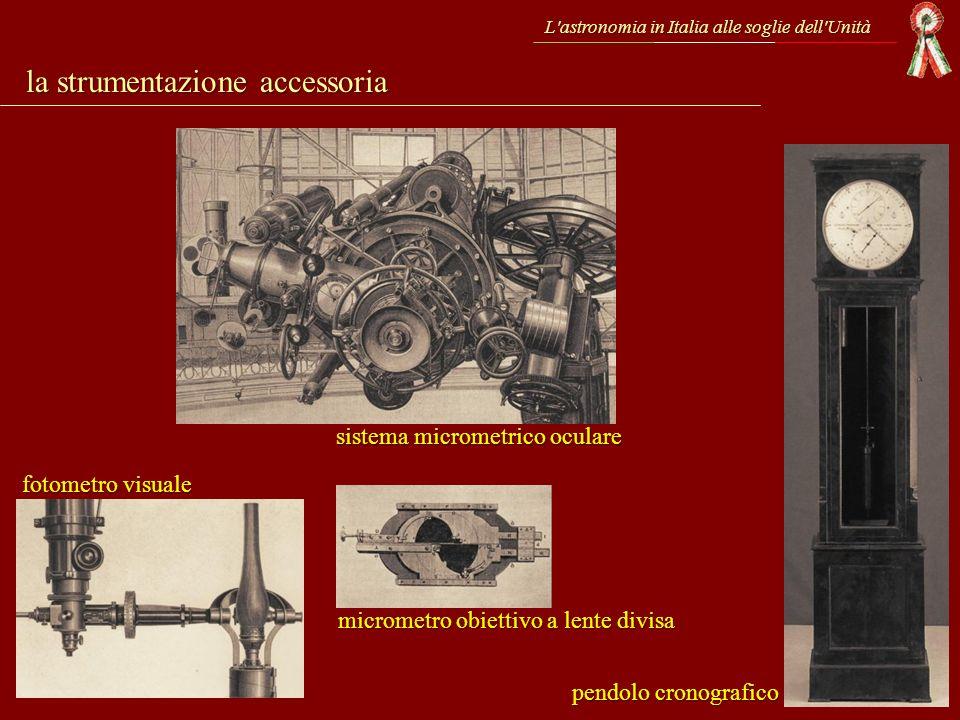 L'astronomia in Italia alle soglie dell'Unità sistema micrometrico oculare fotometro visuale micrometro obiettivo a lente divisa pendolo cronografico