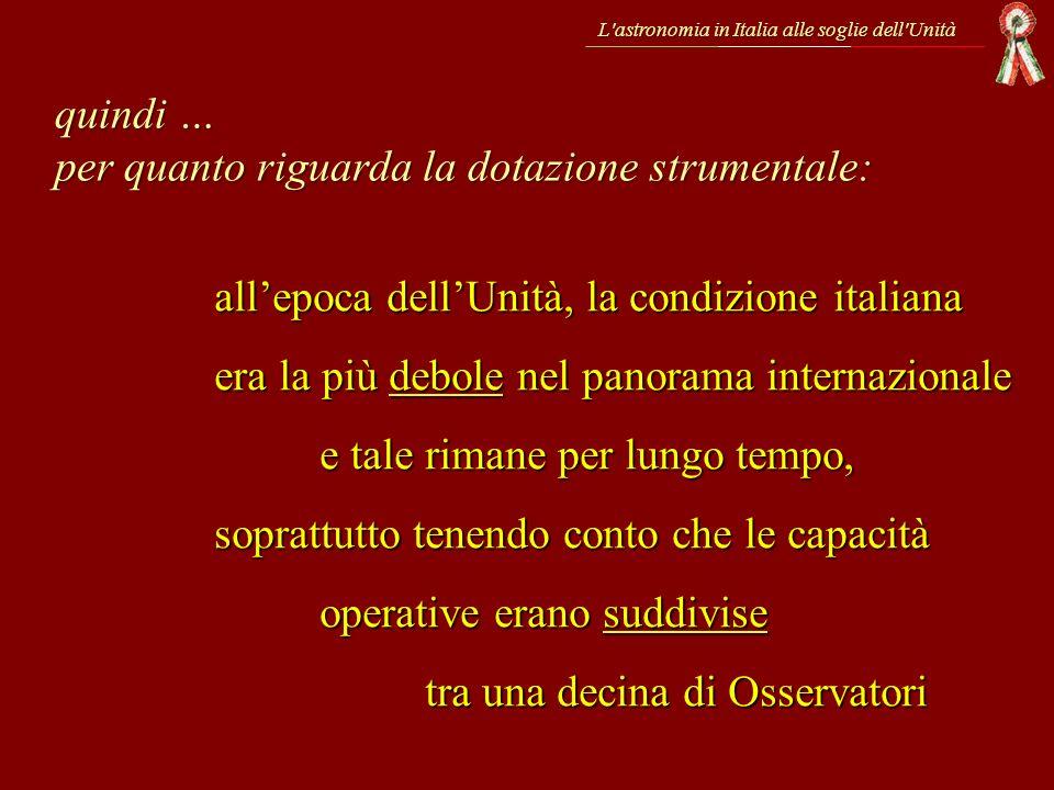 L'astronomia in Italia alle soglie dell'Unità allepoca dellUnità, la condizione italiana era la più debole nel panorama internazionale e tale rimane p