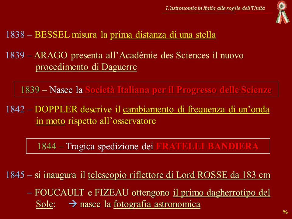 L astronomia in Italia alle soglie dell Unità «… in questo felice paese si potrebbe sperare molto, se da un lato in parte non mancassero i mezzi e dallaltro lapplicazione …» … ricordate von Littrow ?.