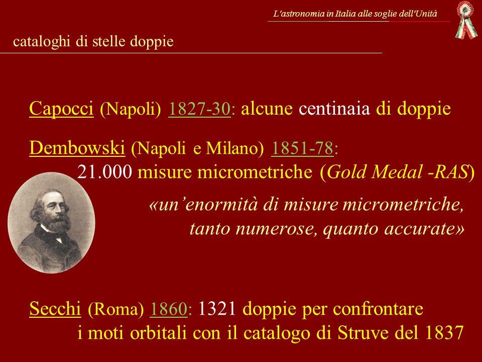 L'astronomia in Italia alle soglie dell'Unità cataloghi di stelle doppie Capocci (Napoli) 1827-30: alcune centinaia di doppie Dembowski (Napoli e Mila