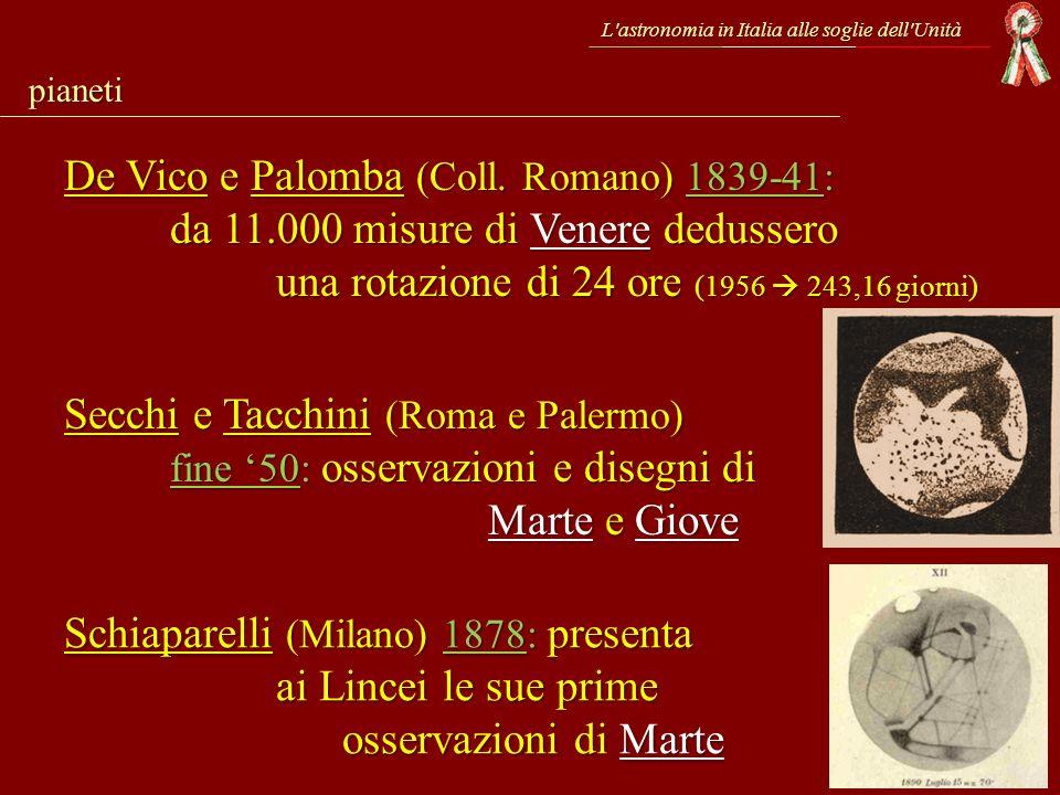 L'astronomia in Italia alle soglie dell'Unità pianeti De Vico e Palomba (Coll. Romano) 1839-41: da 11.000 misure di Venere dedussero una rotazione di