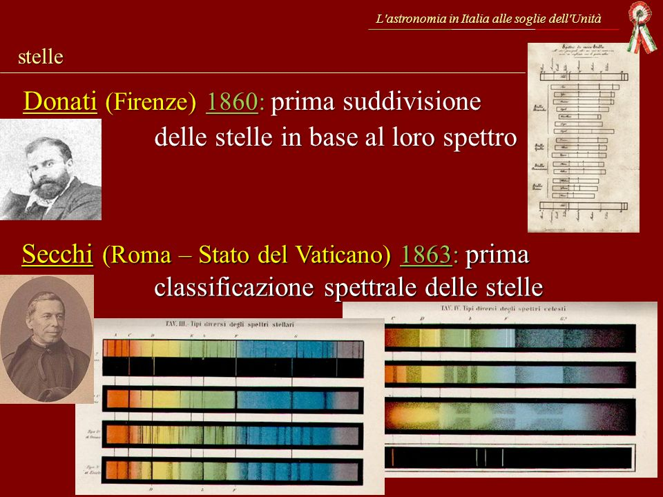 L'astronomia in Italia alle soglie dell'Unità stelle Donati (Firenze) 1860: prima suddivisione delle stelle in base al loro spettro Secchi (Roma – Sta